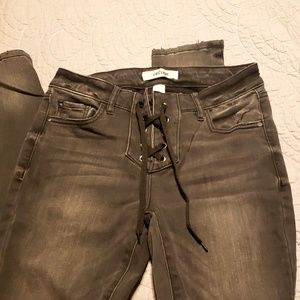 Pants - Distressed Gray/Black Lace Up jeans!!